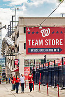 22 September 2018: Washington Nationals fans begin to arrive outside the ballpark prior to a game against the New York Mets at Nationals Park in Washington, DC. The Nationals shut out the Mets 6-0 in the 3rd game of their 4-game series. Mandatory Credit: Ed Wolfstein Photo *** RAW (NEF) Image File Available ***