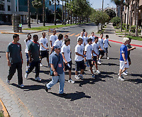 U17 Men's National Team walk and stretch around the hotel. 2009 CONCACAF Under-17 Championship From April 21-May 2 in Tijuana, Mexico
