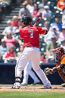 Mac Williamson (7) of the Richmond Flying Squirrels at bat against the Bowie Baysox at The Diamond on May 25, 2015 in Richmond, Virginia.  The Flying Squirrels defeated the Baysox 6-1. (Brian Westerholt/Four Seam Images)