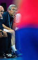 08 AUG 2012 - LONDON, GBR - Claude Onesta (FRA), the head coach of France, watches play during the men's London 2012 Olympic Games quarter final match against Spain at the Basketball Arena in the Olympic Park, in Stratford, London, Great Britain .(PHOTO (C) 2012 NIGEL FARROW)