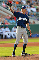 Anthony Banda (18) of the Helena Brewers in action against the Ogden Raptors at Lindquist Field on July 23, 2013 in Ogden Utah. (Stephen Smith/Four Seam Images)