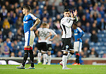 Rangers v St Johnstone...22.09.15  Scottish League Cup Round 3, Ibrox Stadium<br /> Michael O'Halloran applauds the fans as he is subbed<br /> Picture by Graeme Hart.<br /> Copyright Perthshire Picture Agency<br /> Tel: 01738 623350  Mobile: 07990 594431