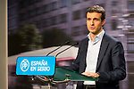Deputy Secretary of Communications Partido Popular, Pablo Casado talks about the first polls in the general election on December 20 in Madrid, 2015<br /> (ALTERPHOTOS/BorjaB.Hojas)