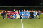 Dave Mackay Testimonial: St Johnstone v Dundee…06.10.17…  McDiarmid Park… <br />The two teams and legends line up before kick off, Dave Mackay and son Calum are pictured front centre<br />Picture by Graeme Hart. <br />Copyright Perthshire Picture Agency<br />Tel: 01738 623350  Mobile: 07990 594431