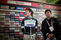 Rigoberto Uran (COL/OPQS) waiting for an interview to go live<br /> <br /> Giro d'Italia 2014<br /> Opening Ceremony