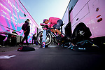 EF Education-Nippo riders warm up before Stage 3 of Paris-Nice 2021, an individual time trial running 14.4km around Gien, France. 9th March 2021.<br /> Picture: ASO/Fabien Boukla | Cyclefile<br /> <br /> All photos usage must carry mandatory copyright credit (© Cyclefile | ASO/Fabien Boukla)