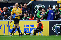 Seremaia Bai of Leicester Tigers receives a red card and spends the rest of the match on the sidelines