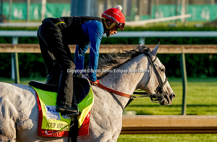 April 27, 2021: Soup and Sandwich, trained by trainer Mark Casse, exercises in preparation for the Kentucky Derby at Churchill Downs on April 27, 2021 in Louisville, Kentucky. Scott Serio/Eclipse Sportswire/CSM