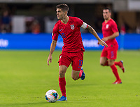 WASHINGTON, DC - OCTOBER 11: Christian Pulisic #10 of the United States sprints forward during a game between Cuba and USMNT at Audi Field on October 11, 2019 in Washington, DC.