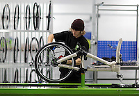Pictured: Matt Steele on the assembly line Monday 15 August 2016<br />Re: Frog Bikes in Mamhilad Estate Park in Pontypool, Wales, UK