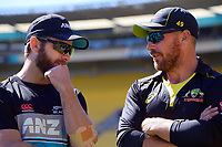 NZ captain Kane Williamson chats with Australia skipper Aaron Finch after the 5th international men's T20 cricket match between the New Zealand Black Caps and Australia at Sky Stadium in Wellington, New Zealand on Sunday, 7 March 2021. Photo: Dave Lintott / lintottphoto.co.nz