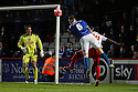 Sonny Bradley of Portsmouth goes close with a header<br />  - Stevenage v Portsmouth - FA Cup 1st Round  - Lamex Stadium, Stevenage - 9th November, 2013<br />  © Kevin Coleman 2013