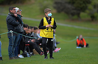 A ballboy with a face mask on during the Central League Football match between Western Suburbs and Napier City Rovers at Endeavour Park in Wellington, New Zealand on Sunday, 23 August 2020. Photo: Dave Lintott / lintottphoto.co.nz