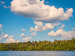 Eagles Mere lake, PA. Waterscape with clouds and sunfish.