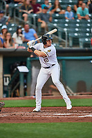 Chad Wallach (40) of the Salt Lake Bees at bat against the Sacramento River Cats at Smith's Ballpark on August 16, 2021 in Salt Lake City, Utah. The Bees defeated the River Cats 6-0. (Stephen Smith/Four Seam Images)