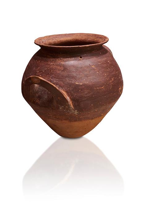 Hittite  terra cotta pot woth two handles. Hittite Period, 1600 - 1200 BC.  Hattusa Boğazkale. Çorum Archaeological Museum, Corum, Turkey. Against a white bacground.
