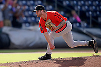 Pitcher Logan Gillespie (39) of the Aberdeen IronBirds in a game against the Greenville Drive on Sunday, July 11, 2021, at Fluor Field at the West End in Greenville, South Carolina. (Tom Priddy/Four Seam Images)