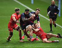 30th September 2020; Ashton Gate Stadium, Bristol, England; Premiership Rugby Union, Bristol Bears versus Leicester Tigers; Alapati Leiua of Bristol Bears drives on despite the Leicester Tigers tackles