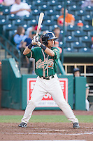 Yefri Perez (12) of the Greensboro Grasshoppers at bat against the Hagerstown Suns at NewBridge Bank Park on May 20, 2014 in Greensboro, North Carolina.  The Grasshoppers defeated the Suns 5-4. (Brian Westerholt/Four Seam Images)