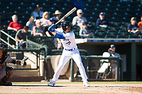 Surprise Saguaros shortstop Santiago Espinal (6), of the Toronto Blue Jays organization, at bat in front of catcher Martin Cervenka (25) during an Arizona Fall League game against the Glendale Desert Dogs at Surprise Stadium on November 13, 2018 in Surprise, Arizona. Surprise defeated Glendale 9-2. (Zachary Lucy/Four Seam Images)