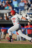 Auburn Doubledays catcher Raudy Read (29) at bat during a game against the Batavia Muckdogs on June 14, 2014 at Dwyer Stadium in Batavia, New York.  Batavia defeated Auburn 7-2.  (Mike Janes/Four Seam Images)