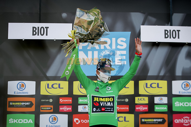 Slovenian Champion Primoz Rogloc (SLO) Team Jumbo-Visma wins Stage 6 and also takes over the points Green Jersey of Paris-Nice 2021, running 202.5km from Brignoles to Biot, France. 12th March 2021.<br /> Picture: ASO/Fabien Boukla | Cyclefile<br /> <br /> All photos usage must carry mandatory copyright credit (© Cyclefile | ASO/Fabien Boukla)