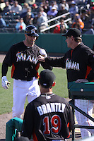 Miami Marlins Kevin Kouzmanoff (15) is congratulated by Mike Redmond for hitting a home run against the New York Mets during a spring training game at the Roger Dean Complex in Jupiter, Florida on March 3, 2013. Miami defeated New York 6-4. (Stacy Jo Grant/Four Seam Images)........