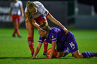 Corina Luijks (14) of Zulte-Waregem pictured with Laura Deloose (14) of Anderlecht during a female soccer game between RSC Anderlecht Dames and SV Zulte Waregem on the 10 th matchday of the 2020 - 2021 season of Belgian Womens Super League , friday 18 th of December 2020  in Tubize , Belgium . PHOTO SPORTPIX.BE | SPP | DAVID CATRY