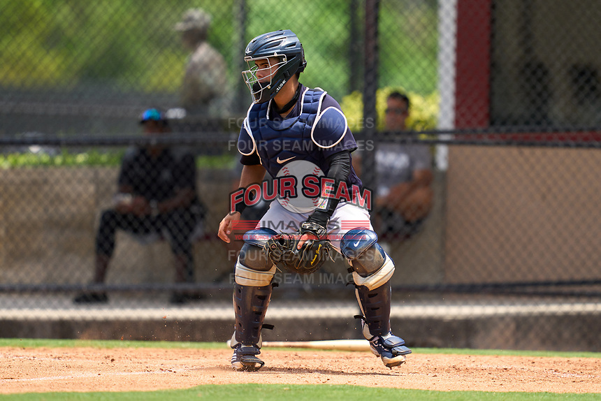New York Yankees catcher Antonio Gomez (55) waits for a throw during an Extended Spring Training game against the Philadelphia Phillies on June 22, 2021 at the Carpenter Complex in Clearwater, Florida. (Mike Janes/Four Seam Images)