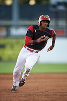 Batavia Muckdogs Kris Goodman (8) running the bases during a game against the West Virginia Black Bears on June 30, 2016 at Dwyer Stadium in Batavia, New York.  Batavia defeated West Virginia 4-3.  (Mike Janes/Four Seam Images)
