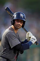 Lehigh Valley IronPigs second baseman Dean Anna (8) on deck during a game against the Rochester Red Wings on June 30, 2018 at Frontier Field in Rochester, New York.  Lehigh Valley defeated Rochester 6-2.  (Mike Janes/Four Seam Images)
