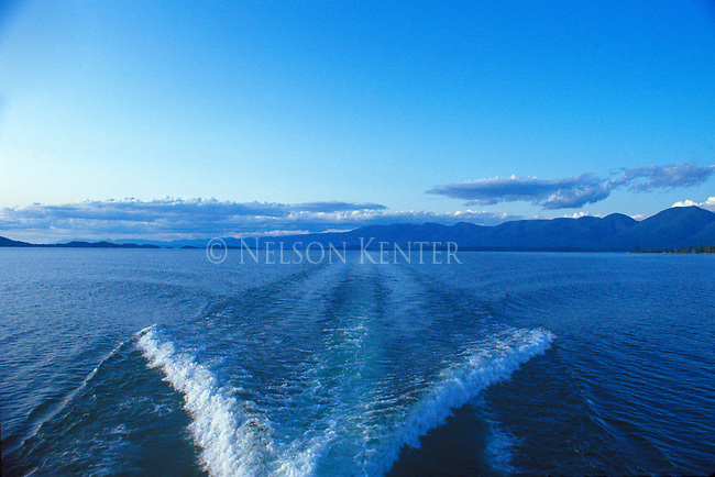 The wake from a boat on Flathead Lake in Montana