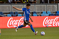 SAN JOSE, CA - MAY 12: Andres Rios #25 of the San Jose Earthquakes passes the ball during a game between San Jose Earthquakes and Seattle Sounders FC at PayPal Park on May 12, 2021 in San Jose, California.
