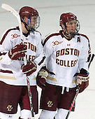 Ian McCoshen (BC - 3), Bill Arnold (BC - 24) - The Boston College Eagles defeated the visiting University of Wisconsin Badgers 9-2 on Friday, October 18, 2013, at Kelley Rink in Conte Forum in Chestnut Hill, Massachusetts.