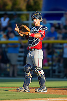 Danville Braves catcher Tanner Murphy (15) on defense against the Burlington Royals at Burlington Athletic Park on July 5, 2014 in Burlington, North Carolina.  The Royals defeated the Braves 5-4.  (Brian Westerholt/Four Seam Images)