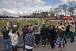 Southport fans celebrating their team's third goal scored by Ciaran Kilheeney in the dying minutes of the second half against Harrogate Town at Wetherby Road, Harrogate. The Conference North match was won 3-2 by Southport, a result which kept the Sandgrounders on course for top spot in the division while HarrogateTown remained bottom.