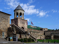 Glockenturm, Kathedrale Sweti Zchoweli - Sveti Tskhoveli in Mzcheta, Georgien, Europa, UNESCO-Weltkulturerbe<br /> bell tower, cathedral Sweti Zschoweli-Sveti Tskhoveli in Mzcheta,  Georgia, Europe, Heritage Site