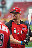 Team USA Brandon Nimmo (9) during practice before the MLB All-Star Futures Game on July 12, 2015 at Great American Ball Park in Cincinnati, Ohio.  (Mike Janes/Four Seam Images)