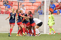 Houston, TX - Sunday Oct. 09, 2016: Washington Spirit, Crystal Dunn celebrates scoring during the National Women's Soccer League (NWSL) Championship match between the Washington Spirit and the Western New York Flash at BBVA Compass Stadium. The Western New York Flash win 3-2 on penalty kicks after playing to a 2-2 tie.