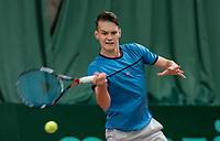 Wateringen, The Netherlands, March 16, 2018,  De Rhijenhof , NOJK 14/18 years, Nat. Junior Tennis Champ. Gijs Akkermans (NED)<br />  Photo: www.tennisimages.com/Henk Koster