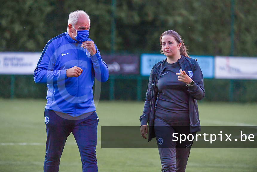 Genk's head coach Guido Brepoels and Genk's assistant coach Sarah Geurts pictured during a female soccer game between KRC Genk Ladies and Sporting Charleroi  on the first matchday of the 2020 - 2021 season of Belgian Women's SuperLeague , friday 28 of August 2020  in Genk , Belgium . PHOTO SPORTPIX.BE   SPP   STIJN AUDOOREN