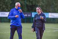 Genk's head coach Guido Brepoels and Genk's assistant coach Sarah Geurts pictured during a female soccer game between KRC Genk Ladies and Sporting Charleroi  on the first matchday of the 2020 - 2021 season of Belgian Women's SuperLeague , friday 28 of August 2020  in Genk , Belgium . PHOTO SPORTPIX.BE | SPP | STIJN AUDOOREN