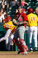 Alexis Mercado #9 of the Cal State Northridge Matadors during a game against the USC Trojans at Dedeaux Field on February 24, 2013 in Los Angeles, California. (Larry Goren/Four Seam Images)