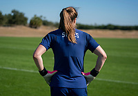 ORLANDO, FL - JANUARY 20: Alyssa Naeher #1 of the USWNT waits between drills during a training session at the practice fields on January 20, 2021 in Orlando, Florida.