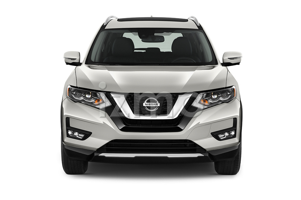 Car photography straight front view of a 2017 Nissan Rogue SL-Hybrid 5 Door SUV Front View