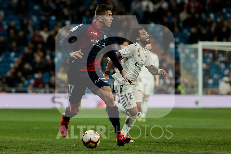 SD Huesca's -hu17- during La Liga match between Real Madrid and SD Huesca at Santiago Bernabeu Stadium in Madrid, Spain.March 31, 2019. (ALTERPHOTOS/A. Perez Meca)