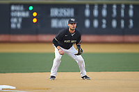 Wake Forest Demon Deacons third baseman Bruce Steel (17) on defense against the Notre Dame Fighting Irish at David F. Couch Ballpark on March 10, 2019 in  Winston-Salem, North Carolina. The Fighting Irish defeated the Demon Deacons 8-7 in 10 innings in game two of a double-header. (Brian Westerholt/Four Seam Images)