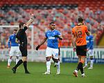 13.12.2020 Dundee Utd v Rangers: Alfredo Morelos booked by ref Steven McLean