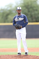 Emmanuel Ramirez (11) of the AZL Padres pitches during a game against the AZL Rangers at the San Diego Padres Spring Training Complex on July 4, 2015 in Peoria, Arizona. Padres defeated the Rangers, 9-2. (Larry Goren/Four Seam Images)
