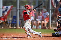 Ball State Cardinals second baseman Noah Navarro (8) bats during a game against the Mount St. Mary's Mountaineers on March 9, 2019 at North Charlotte Regional Park in Port Charlotte, Florida.  Ball State defeated Mount St. Mary's 12-9.  (Mike Janes/Four Seam Images)
